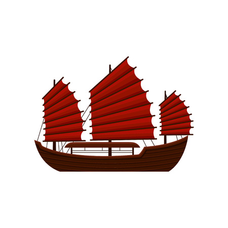 Traditional Chinese junk boat with red sails. Old wooden sailing ship. Asian marine vessel. Symbol of Hong Kong. Flat vector icon Stock Photo