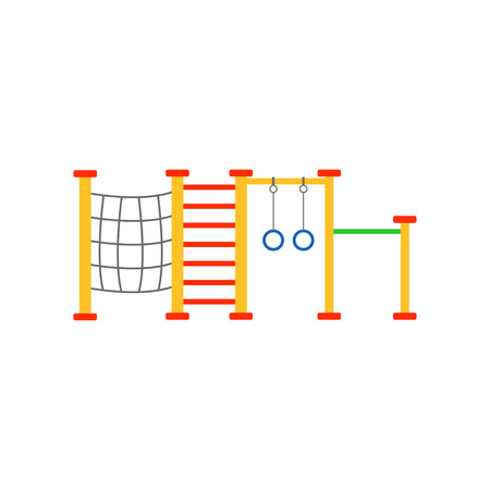 Colorful illustration of children s playground with climbing net, rings, swedish ladder. Play area for active kids. Outdoor equipment for school or kindergarten. Flat vector design isolated on white.