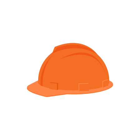 Illustration of plastic orange helmet for construction worker. Protective headgear. Industrial equipment for personal safety. Colorful flat vector isolated on white background. Cartoon style icon. 矢量图像