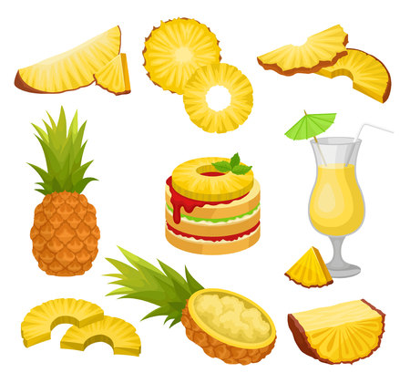 Set of cut and whole pineapples, alcohol drink and dessert. Juicy tropical fruit. Natural and healthy food. Graphic elements for advertising poster or product packaging. Isolated flat vector icons. Ilustração