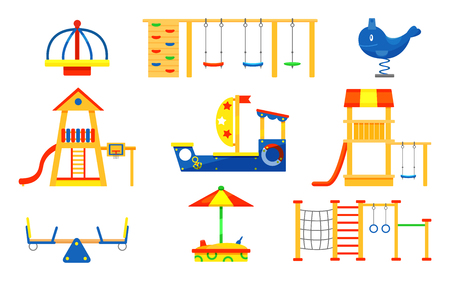 Set of kids playground elements. Carousels, slides, ladders, wooden sandbox. Outdoor equipment for active children s recreation. Objects for play area. Colorful flat vector design isolated on white.