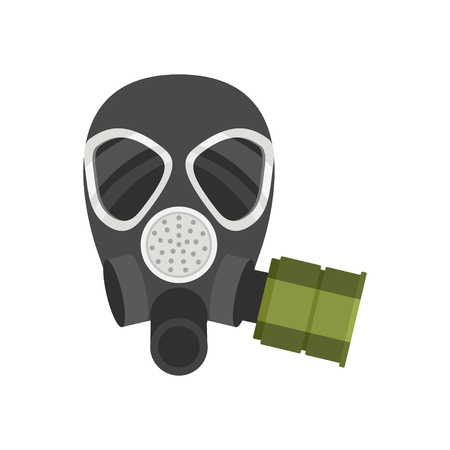 Colorful illustration of respirator for firefighters or military. Protective equipment. Gas mask with filter for personal safety. Flat vector design isolated on white background. Cartoon style icon.