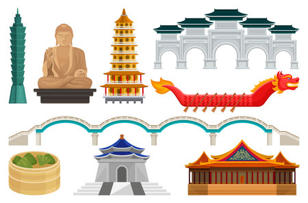 Set of Taiwan national cultural symbols. Famous architecture and tourist attractions, Asian food, dragon boat and bridge. Graphic elements for mobile app or travel poster. Isolated flat vector icons.