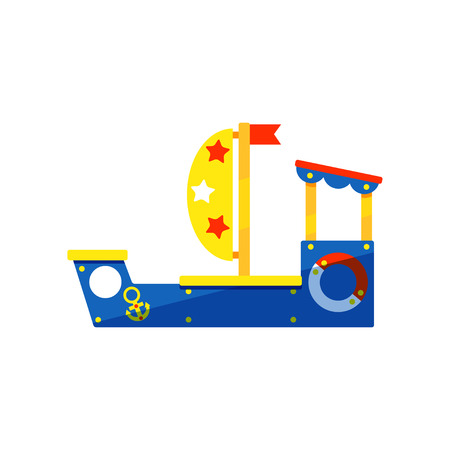 Colorful wooden ship for kids games. Children play area. Equipment for kindergarten. Modern playground. Outdoor activity theme. Cartoon style illustration. Flat vector isolated on white background.