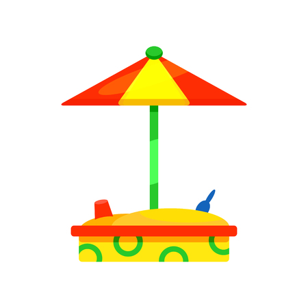 Wooden sandbox with colorful umbrella. Outdoor equipment for kindergarten. Children play area. Place for kids games. Cartoon style icon. Flat vector illustration isolated on white background.