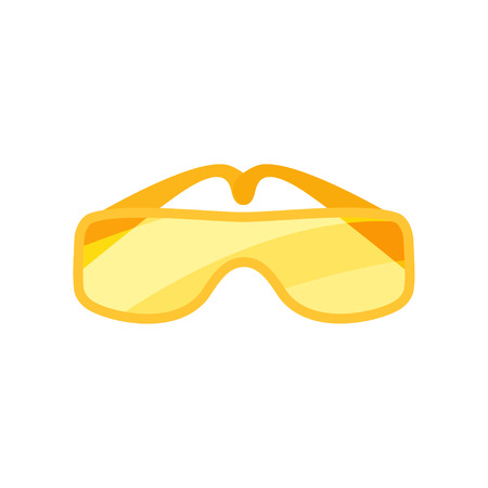 Pair of safety goggles. Glasses with orange lenses. Protective eyewear for workers. Industrial safety equipment. Cartoon style icon. Colorful flat vector illustration isolated on white background.