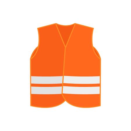 Illustration d'un gilet de sécurité orange vif avec deux bandes réfléchissantes. Vêtements haute visibilité. Vêtements de protection pour les travailleurs. Icône de vecteur coloré dans un style plat isolé sur fond blanc.
