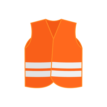 Illustration of bright orange safety vest waistcoat with two reflective stripes. High-visibility clothing. Protective wear for workers. Colorful vector icon in flat style isolated on white background.