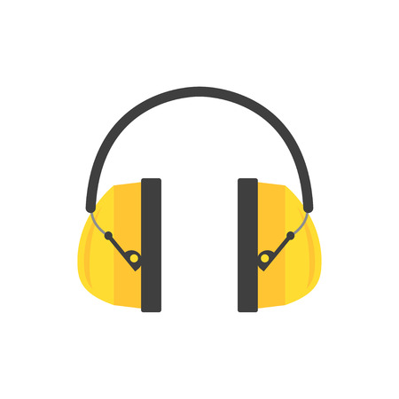 Protective ear muffs. Yellow headphones for construction worker. Professional equipment for hearing safety. Flat vector design