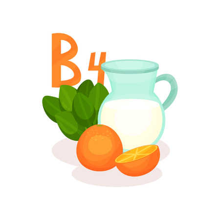 Products with vitamin B4. Jug of milk, fresh oranges and spinach. Healthy food theme. Graphic element for infographic poster about nutrition. Colorful flat vector design isolated on white background. Stock Illustratie