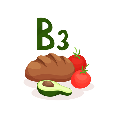 Fresh red tomatoes, rye bread and half of avocado. Food with vitamin B3 nicotinic acid . Healthy nutrition and diet theme. Colorful vector illustration in flat style isolated on white background.