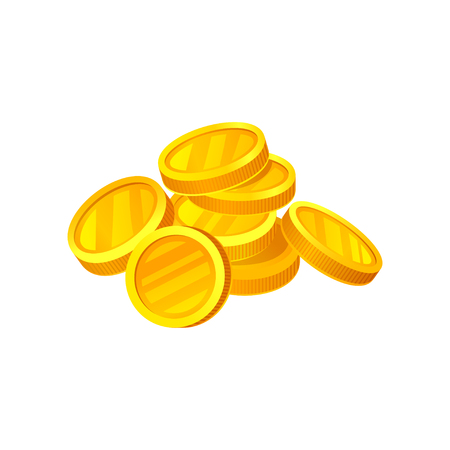 Heap of shiny golden coins. Money and finance theme. Graphic design for advertising poster or mobile application. Cartoon style illustration. Colorful flat vector design isolated on white background. Stockfoto - 112118094