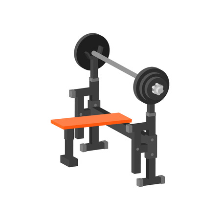 Icon of bench press machine. Gym equipment for bodybuilding and weightlifting exercises. Sport and healthy lifestyle theme. Colorful vector illustration in flat style isolated on white background.