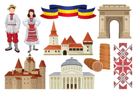 Set of cultural symbols of Romania. Famous tourist attraction, food, historic architecture, ribbon in color of Romanian tricolor, traditional embroidery and folk costumes. Isolated flat vector icons.