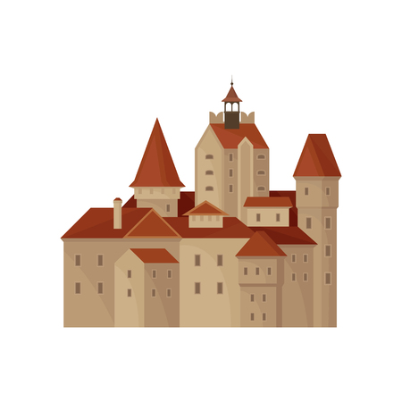 Transylvania s Bran castle or residence of Count Dracula. Famous landmark in Romania. Historic building. Old architecture. Flat vector icon