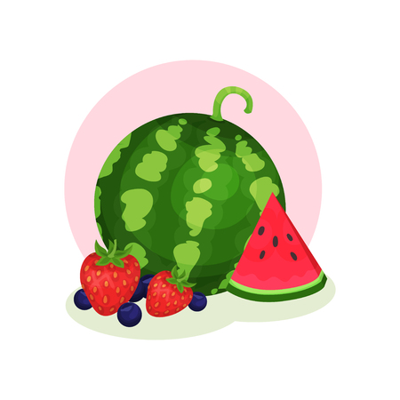 Organic summer products. Ripe watermelon, strawberry and blueberry. Sweet and tasty berries. Healthy food. Graphic element for poster or banner. Colorful flat vector illustration isolated on white.
