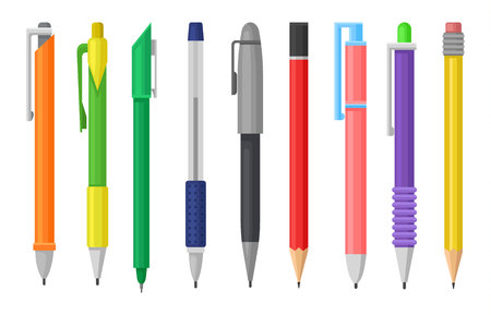 Collection of colorful pens and pencils. Stationery supply. School or office tools for writing and drawing. Graphic elements for poster or banner. Flat vector design isolated on white background.