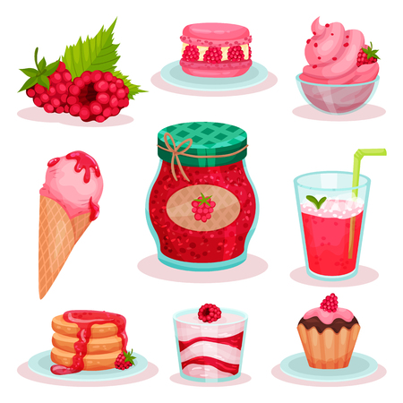 Set of raspberry food and drink. Ice-cream, jar of jam, fresh cocktail and tasty desserts. Graphic elements for menu or recipe book. Colorful vector icons in flat style isolated on white background. Ilustração Vetorial