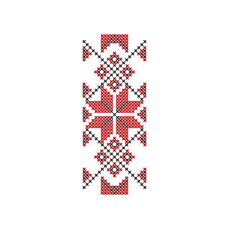 Icon of traditional red-black Romanian embroidery. Ethnic ornament pattern. Decorative element for textile, poster or notebook cover. Colorful flat vector illustration isolated on white background.