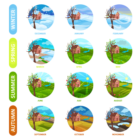 Set of 12 months of the year. Winter, spring, summer and autumn season. Nature landscape with house, apple tree, field and river. Elements for calendar or mobile app. Flat vector icons in circle shape