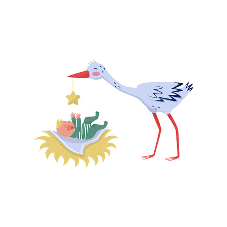Stork playing with little baby. Joyful kid laying in nest. Lovely bird and child. Colorful graphic element for greeting card or poster. Vector illustration in flat style isolated on white background. Illustration