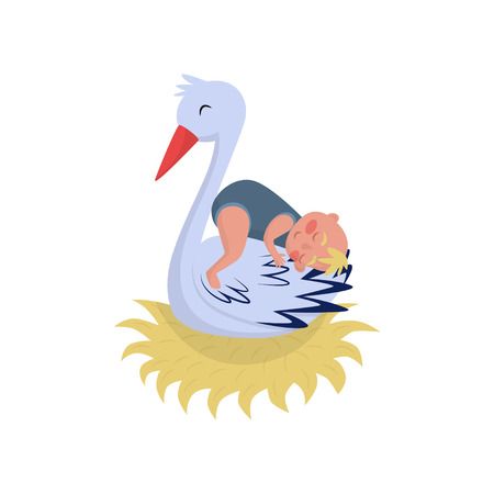 Cute stork sleeping with little baby in nest. Large white bird and newborn child. Graphic element for greeting card or poster. Colorful vector illustration in flat style isolated on white background.