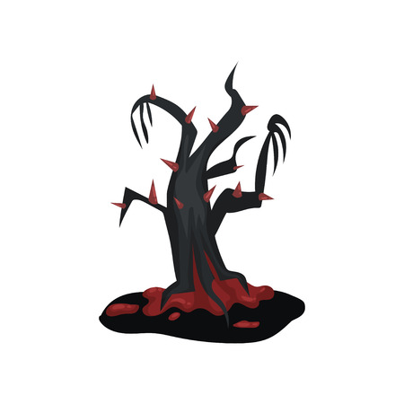 Black terrible tree with bloody red thorns. Cartoon landscape element. Halloween theme. Flat vector for mobile or computer game