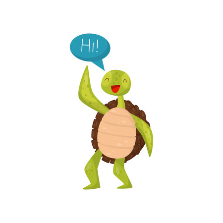 Friendly green turtle waving flipper and saying Hi. Cartoon marine reptile with brown shell. Flat vector for postcard or sticker Illustration