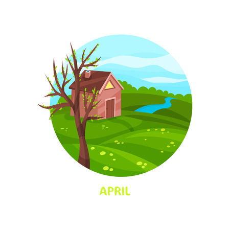 Colorful illustration of nature landscape with small brown house, blooming tree, green meadow, river. April month. Spring season. Circle vector icon with inscription in flat style isolated on white.