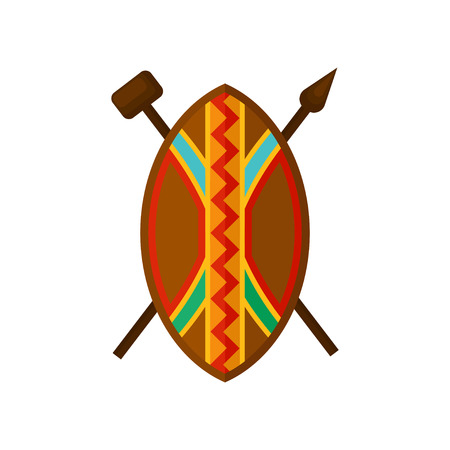 African shield, spear and hammer, authentic symbols of Africa with ethnic ornament vector Illustration isolated on a white background.
