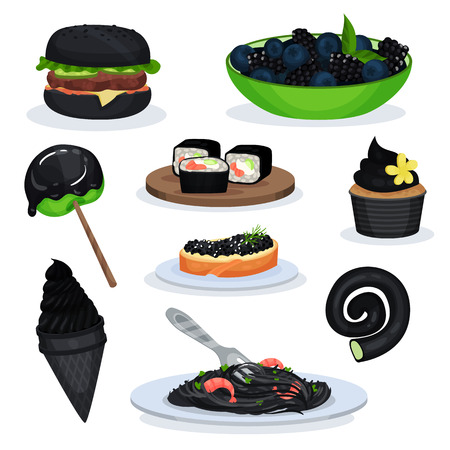 Collection of food dishes of black color, burger, blackberries, lollipop, sushi rolls, cupcake, ice cream cone, pasta with shrimps, sandwich with black fish caviar vector Illustrations on a white background