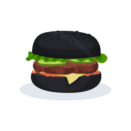 Black burger fast food vector Illustration isolated on a white background. Ilustração