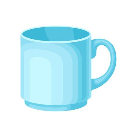 Light blue ceramic tea or coffee cup vector Illustration isolated on a white background.