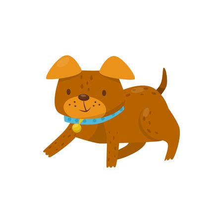 Perro marrón tirado en el suelo, vector de caracteres de dibujos animados de animales domésticos lindo animal doméstico ilustración aislada sobre fondo blanco. Ilustración de vector