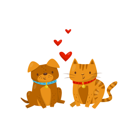 Funny dog and cat in love, cute domestic pet animals cartoon characters, best friends vector Illustration isolated on a white background.