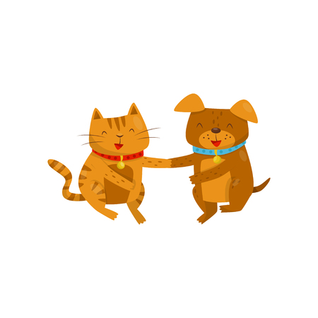 Funny smiling dog and cat holding hands, cute domestic pet animals cartoon characters, best friends vector Illustration isolated on a white background.