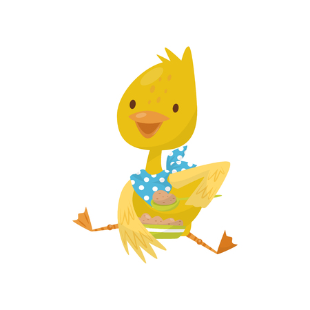 Cute little yellow duckling character sitting and eating with spoon vector Illustration isolated on a white background.