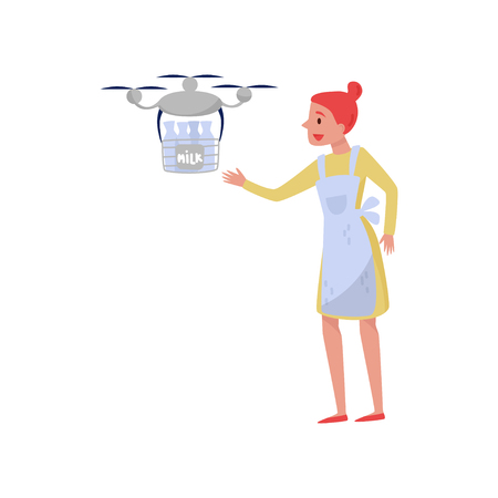Drone quadrocopter delivering milk to a woman in white apron, fast delivery service vector Illustration isolated on a white background.