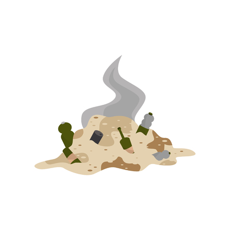 Pile of decaying garbage, environmental pollution problem vector Illustration isolated on a white background.