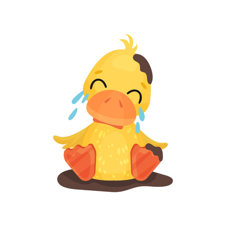 Cute little yellow duckling character sitting in a mud puddle and crying vector Illustration isolated on a white background.