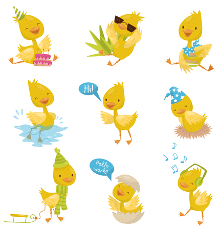 Cute funny little duckling character set, yellow chick duck in different situations vector Illustrations isolated on a white background.
