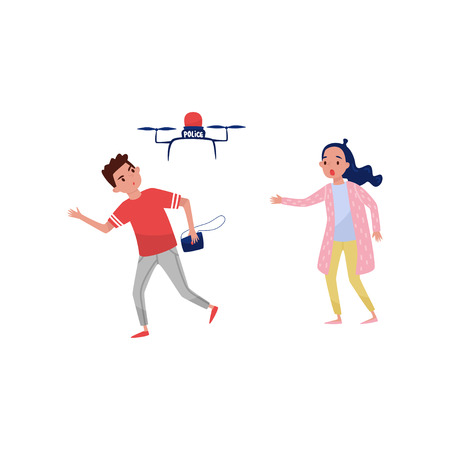 Drone quadrocopter haunting male robber who stole a handbag from a young girl vector Illustration isolated on a white background.