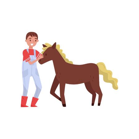 Young man standing next to brown horse, male farmer taking care of animal on farm vector Illustration isolated on a white background.