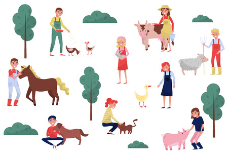 Farmers taking care of animals on farm, farming and agriculture vector Illustration isolated on a white background.