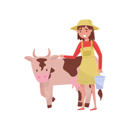 Young woman with bucket standing next to spotted cow, female farmer taking care of animal on farm vector Illustration isolated on a white background.