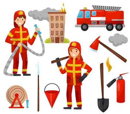 Fireman and firefighting equipment set, truck, fire hose, hydrant, fire extinguisher, axe, scrap, bucket, hose vector Illustrations isolated on a white background. Vettoriali