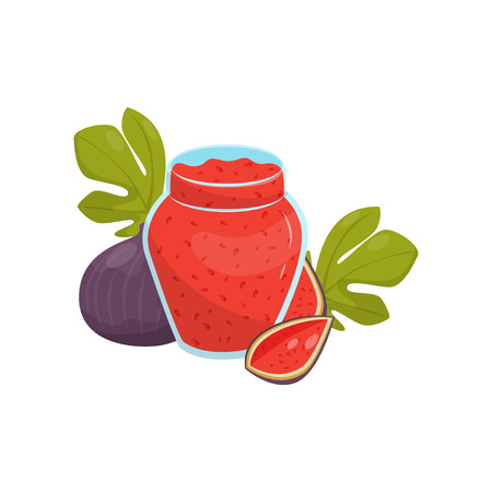 Glass jar of fig fruit jam vector Illustration isolated on a white background.