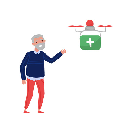 Drone quadrocopter delivering medicine to a pensioner, senior man welcoming multicopter handling box order, fast delivery service vector Illustration isolated on a white background.