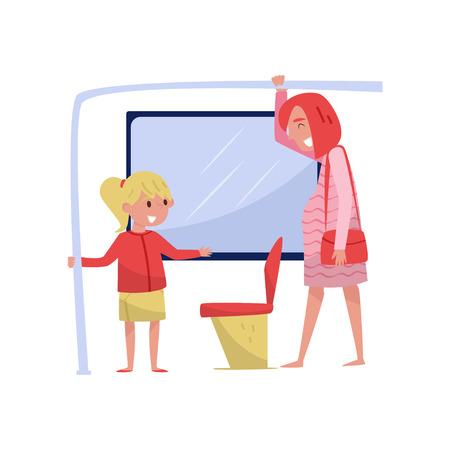 La bambina sveglia sull'autobus lascia il posto alla giovane donna incinta. Bambino con buone maniere. Disegno vettoriale piatto Vettoriali