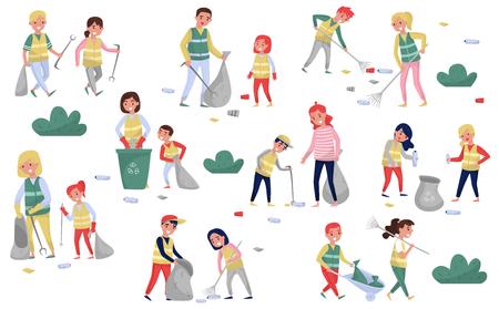 Bénévoles rassemblant les ordures et les déchets plastiques pour le recyclage, les parents et les enfants participant à la collecte des ordures, à la protection de l'environnement et au vecteur de concept d'éducation Illustrations isolées sur fond blanc.